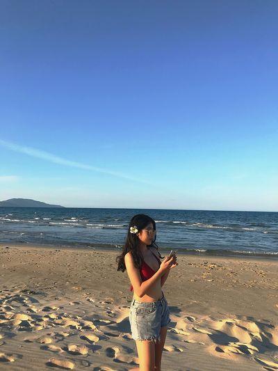 Nineteen 19yearsold Danangbeach Vietnamesegirl Sea Young Women Beach Standing Water Clear Sky Summer Sand Full Length Sky
