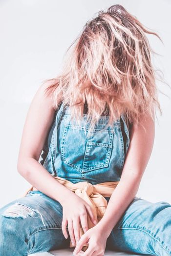 Self portrait Casual Clothing Blond Hair Jeans Sitting One Person One Woman Only Adults Only Human Body Part People Day Tangled Hair Indoors  Only Women Human Findme Studio Photography