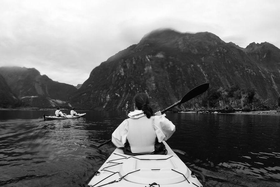 Adventure Black & White Black And White Fjord Kayak Kayaking Landscape Milford Sound Monochrome Mountain Nature New Zealand The Way Forward Water
