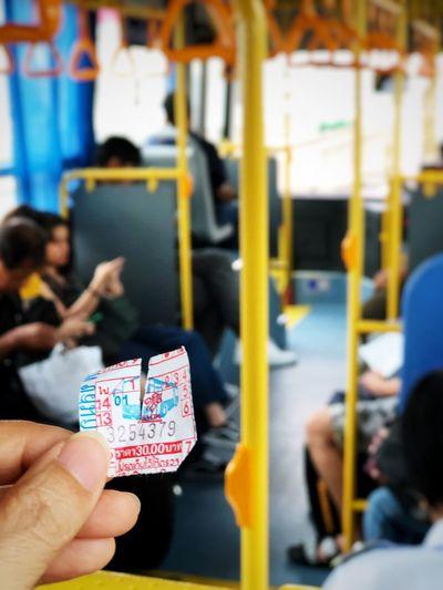 Thai airport bus ticket Bus Holding Transportation Group Of People Lifestyles Human Body Part Incidental People Rail Transportation Public Transportation