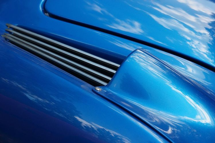 Renault Alpine Close-up Racecar Sportscar Detail Renault Alpine Oldtimer Blue Motor Vehicle Car No People Close-up Transportation High Angle View Metal Reflection Vintage Car
