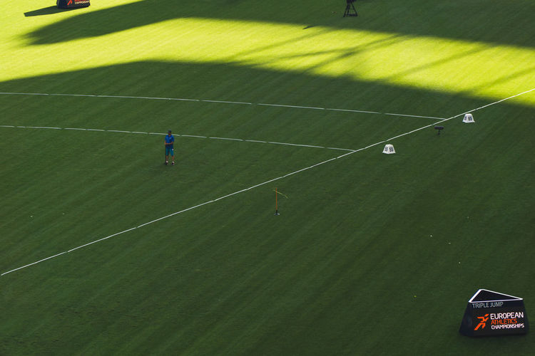 High angle view of people playing soccer