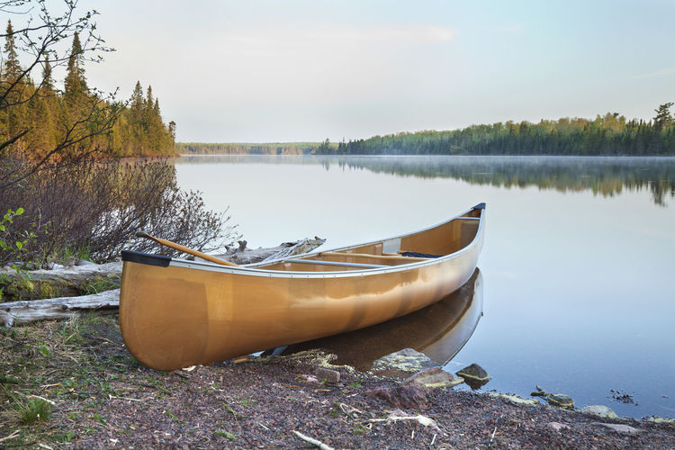 Yellow canoe on the shore of a calm northern Minnesota lake in early morning light Canoe Lake Minnesota North Cascade Lake Calm Water Morning Light Sunlight Paddle Reflection Pine Trees Shore Rocks Sky Mist Early Log Nature Kevlar Landscape USA Color Image Photography No People Nautical Vessel Tranquil Scene Beauty In Nature Lakeshore
