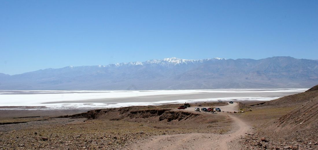 Panoramic View Of Land And Mountains Against Clear Blue Sky