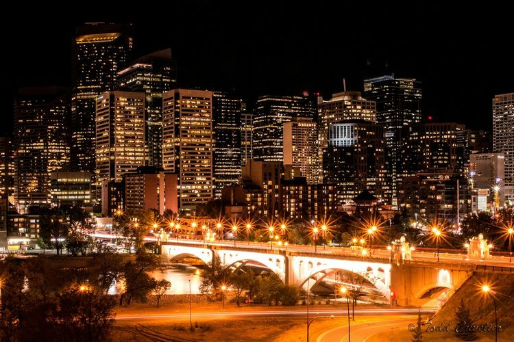 Calgary, Centre St Bridge at night. Calgary Centre Street Bridge Night Photography Cityscapes Long Exposure Cityscape City Lights Bridgeporn City At Night Cities At Night