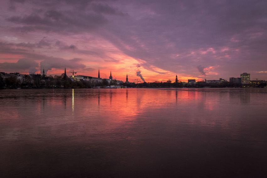 Alster Frozen Lake Hamburg Skyline Außenalster Evening Sky Sunset Warm Light