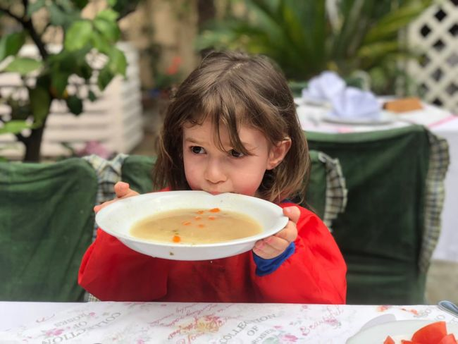 Children eating a soup Soup Children Food And Drink Childhood Child One Person Girls Real People Women Food Lifestyles Females Headshot Portrait Hungry Freshness Casual Clothing Plate Table Front View Focus On Foreground Sitting