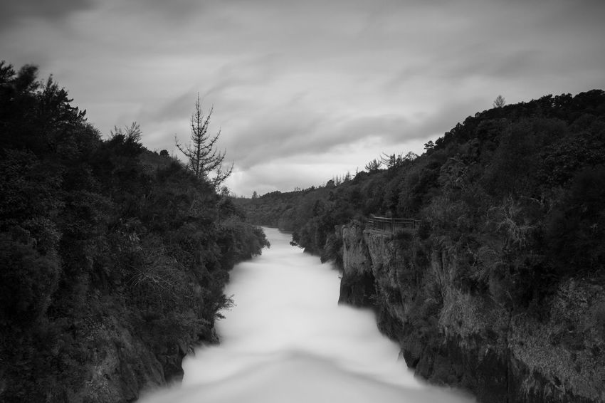Beauty In Nature Black And White Blackandwhite Cloud - Sky Forest Huka Falls Landscape Long Exposure Mountain Nature Outdoors Scenics Tree Water
