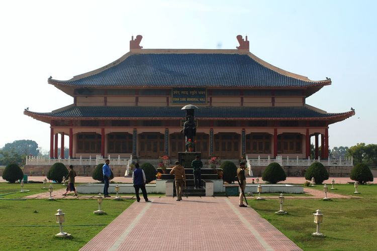 Xuanzang memorial, Nalanda Religion Travel Destinations Place Of Worship Travel Plant Day Nature Belief Real People Crowd Men Sky Large Group Of People Building Exterior Architecture Built Structure Group Of People Building Women Outdoors