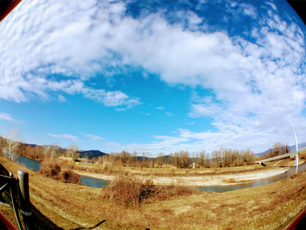 Beauty In Nature Blue Cloud - Sky Day Field Fish Eye Fish Eye Lens Landscape Nature No People Outdoors Scenics Sky Tranquil Scene Tranquility Tree