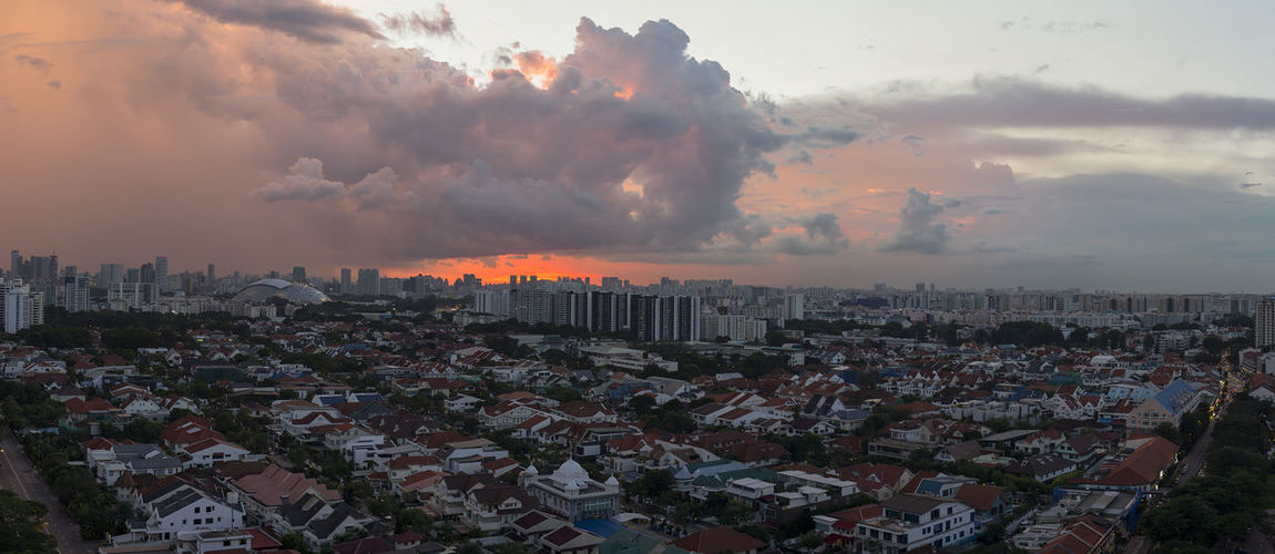 Densely populated.. Housing Birdeyeview Sunset Singapore