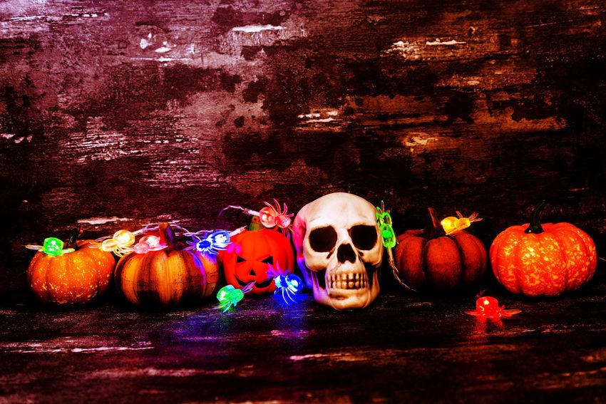 Pumpkin Food Food And Drink Halloween Celebration No People Still Life Illuminated Vegetable Jack O' Lantern Table Decoration Art And Craft Craft Holiday - Event Spooky Freshness Creativity Indoors