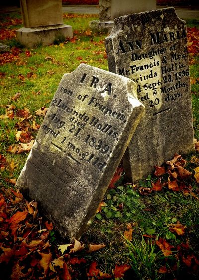 """""""Marked Graves"""" 2015 digital photography New England 2015  Alone Autumn Death Filled Graffiti Marked Mourning New England  Abandoned Cemetery Curiosity Defaced Fall Grave Gravestone History Leaves Memorial Nature Outdoors Stone Text"""
