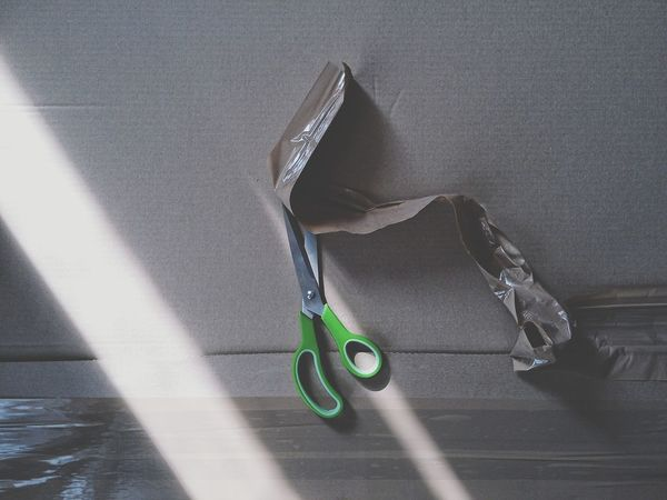 Unboxing Cardboard Tape Scissors Box Light And Shadow Cleaning Indoors  Recycling Package Packing Wrapper Wrapping Green Color Abstract Composition Diagonal Lines Daylight Unwrapping Horizontal Lines Cardboard Background