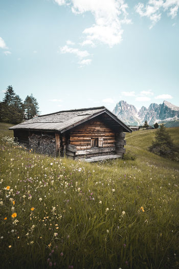 Plant Built Structure Architecture Field Landscape Building Exterior Land Nature Sky Cloud - Sky Building Grass Growth House Beauty In Nature Day No People Environment Rural Scene Flower Outdoors Cabin Seise Alm Dolomiti Alpe Di Siusi