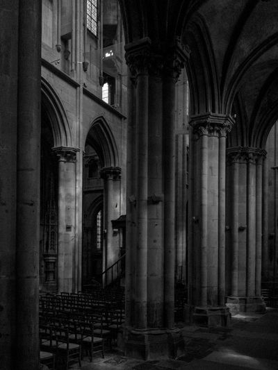 Cathedral in Semur-en-Auxois Architectural Column Architecture Arch History Built Structure Religion Place Of Worship Spirituality Indoors  No People Day Blackandwhite Photography Church Architecture Burgundy, France Gothic Cathedral Shadows & Lights Light And Shadow