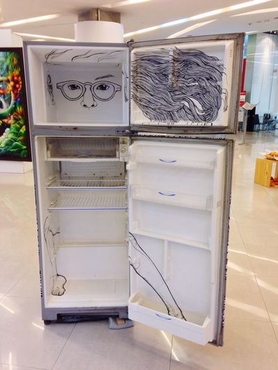 Refrigerator White Fridge Freezer Illustration Installation Art Stand Alone Bangkok Thailand