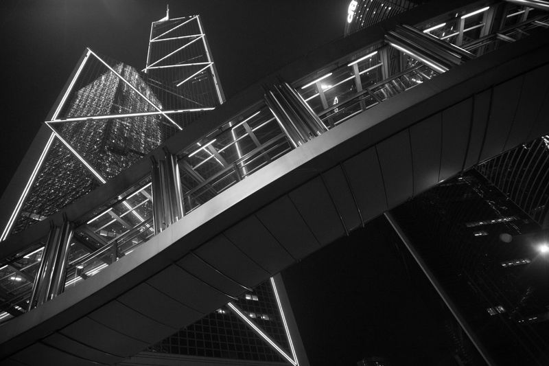 Architecture Blackandwhite Building Bw_collection EyeEmBestPics Geometric Shapes HongKong Low Angle View Modern Monochrome Night Nightphotography Stairs Streetphoto_bw Streetphotography Structure Urban Urban Geometry Fine Art Photography