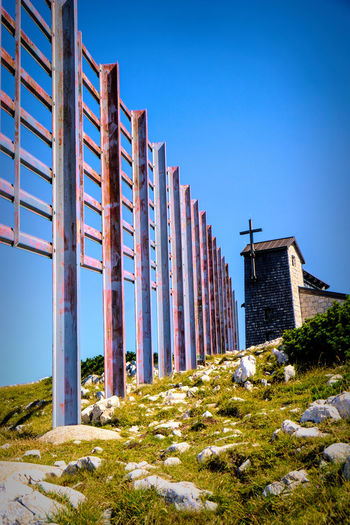Five Fingers Austria Architectural Column Architecture Blue Building Building Exterior Built Structure Clear Sky Day Fujifilm X-t20 Grass In A Row Land Landscape Low Angle View Nature No People Outdoors Plant Sky Sunlight Travel Destinations