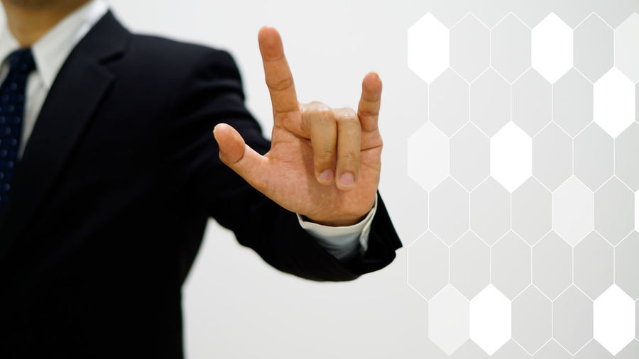 Hologram Love Business Businessman Close-up Communication Day Gesturing Human Body Part Human Finger Human Hand Indoors  Men One Person People Real People Showing Technology Thumbs Up White Background