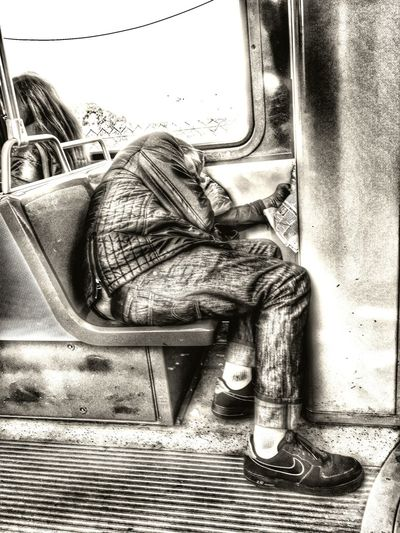 The Human Condition in Blackandwhite Tired in MUNI Sleeping in Public Transportation