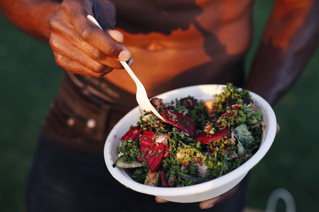 Food And Drink Food One Person Real People Human Hand Midsection Table Holding Freshness Bowl Ready-to-eat Healthy Eating Outdoors Close-up Men Day People