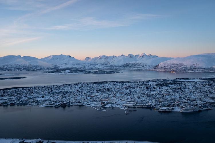 Norway landscape mountainous background in winter.