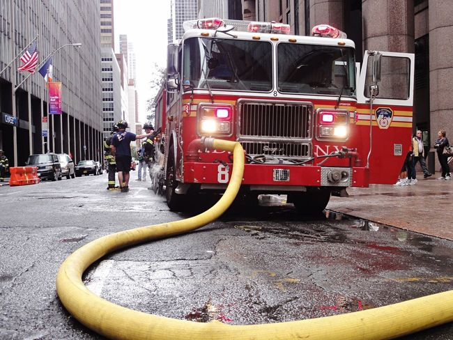 Firefighters FDNY Manhattan NYC Red Fire Engine Outdoors Building Exterior Firefighter City Architecture