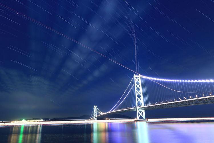 Illuminated Akashi Kaikyo Bridge Over Sea Against Star Trails