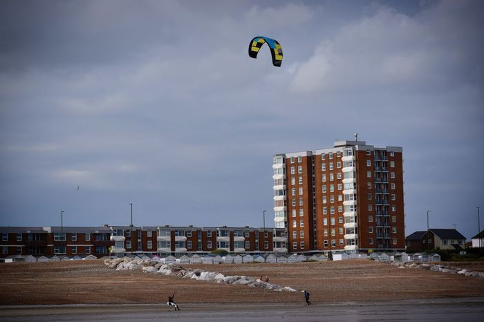 Kite Surfer On Lancing Beach Sky Outdoors Sea Seagull Kite Surfing Water Sports Beach Worthing Lancing  Wind Surfer Wetsuit Sand