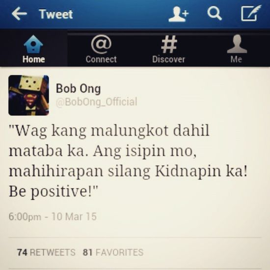 Look at the bright side 👈 Chubby Taba  Bobong Twitter cropped instaquotes