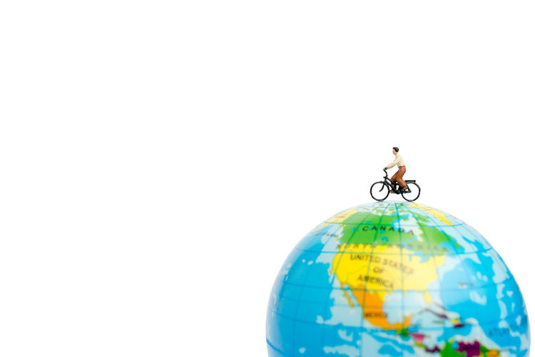 Miniature People Bicycle Map Trip World Travel Lifestyle Globe Vacation Adventure Plan person Healthy Health Outdoor Active Earth Extreme Move Bike Cycle Bicycles Destination Ride Travelers Isolated Creative Sport