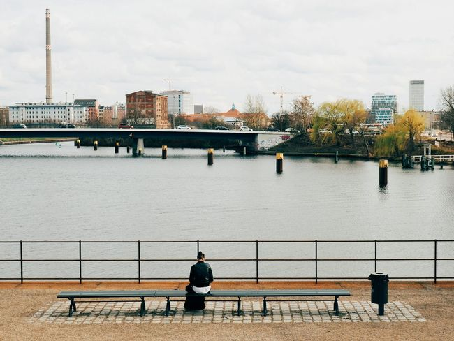 Alone Alone In The City  Lonely Lonely Girl Lonelyness Geometry Geometric Shapes Lines Lines And Shapes Humans Berlin Berliner Ansichten Urbanphotography Eyem Best Shots Eye4photography  Melancholic Landscapes Melancholia People Photography Composition Skyline View Port Harbour Discover Berlin