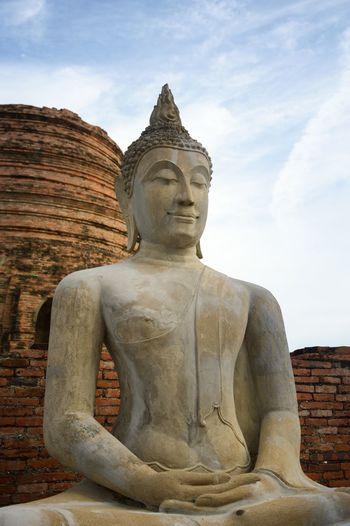 Ayutthaya Buddha Statue Thailand Weather Cement Closeup Day Human Representation Male Likeness No People Outdoors Religion Sculpture Sky Spirituality Statue Temple Travel Destinations Wat Thai