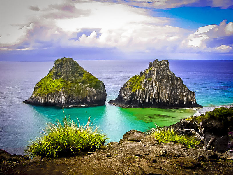 Beautiful Nature Beauty In Nature Blue Brasil ♥ Cloud Cloud - Sky Coastline Colorfull Day Fernando De Noronha Island Horizon Over Water Idyllic Nature Non-urban Scene Ocean Outdoors Rock Rock Formation Rocky Coastline Sea Sky Tranquil Scene Tranquility Two Brothers In Fernando De Noronha The Great Outdoors With Adobe