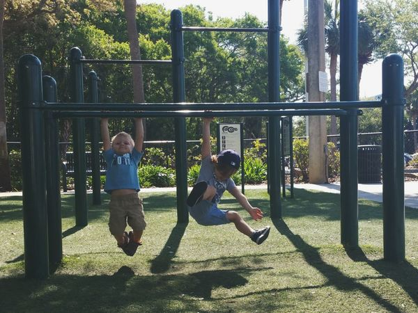 Playground Childhood Fun Outdoors Climbing EyeEmNewHere Fun Cute Happy Toddlerlife Summer Playtime Youth Junglegym Boys Monkeying Around Swinging Hanging Out Friends Buddies Best Friends