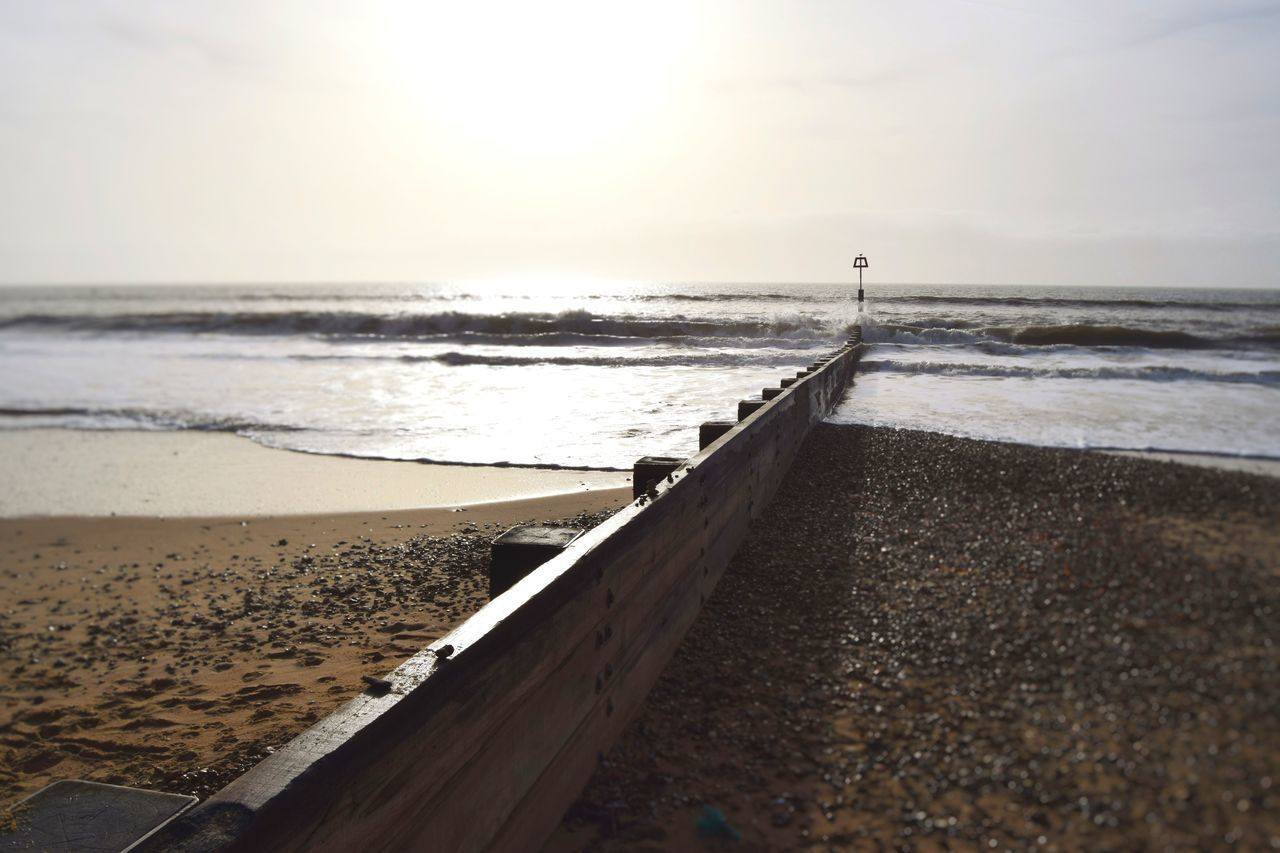 Wooden Jetty At Beach Against Sky