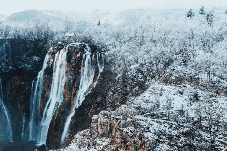 Croatia Tranquility Wintertime Beauty In Nature Cold Temperature Landscape Mountain Nature Nature_collection Nature_perfection Naturelovers Plitvice National Park Scenics Snow Tranquil Scene Waterfall Weather Winter Winter Wonderland
