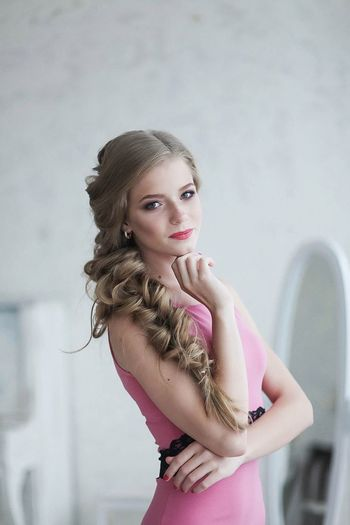 Adult Adults Only Archival Beautiful People Beautiful Woman Beauty Blond Hair Day Formal Portrait Human Body Part Indoors  Long Hair Looking At Camera One Person One Woman Only One Young Woman Only Only Women People Pink Color Portrait Strapless  Young Adult Young Women
