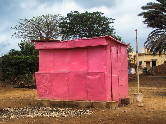 Africa Architecture Building Exterior Built Structure Closed Dakar 2017 Day No People Outdoors Pink Color Sky Small Market Tree