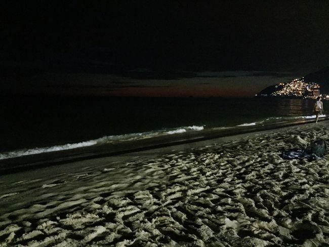 Nigth Beach Ocean Ligths Illuminated