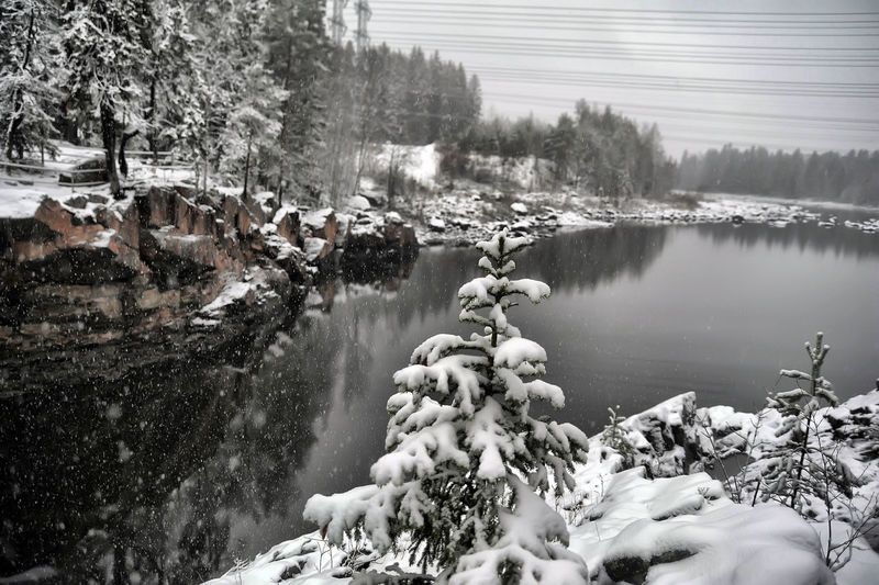 Scenic view of lake during winter