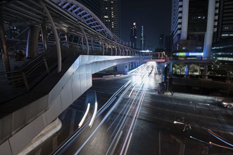 Architecture Built Structure Illuminated City Motion Night Building Exterior Transportation Speed Light Trail Long Exposure Blurred Motion City Life Mode Of Transportation Road Street High Angle View Connection Rail Transportation Land Vehicle Outdoors Track Bridge Urban