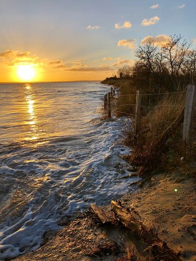 Baltic Sea Storm Surge Water Sunset Sky Scenics - Nature Beauty In Nature Sea Tranquility Beach First Eyeem Photo