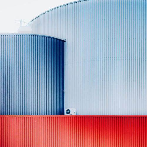 Close-up of closed metal door of building