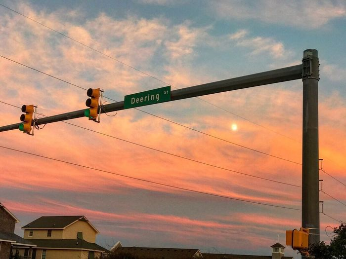 Endearing(see what I did there?) moon pic on a pink sky palette Sky Sunset Outdoors Road Sign Nags Head NC Outer Banks, NC