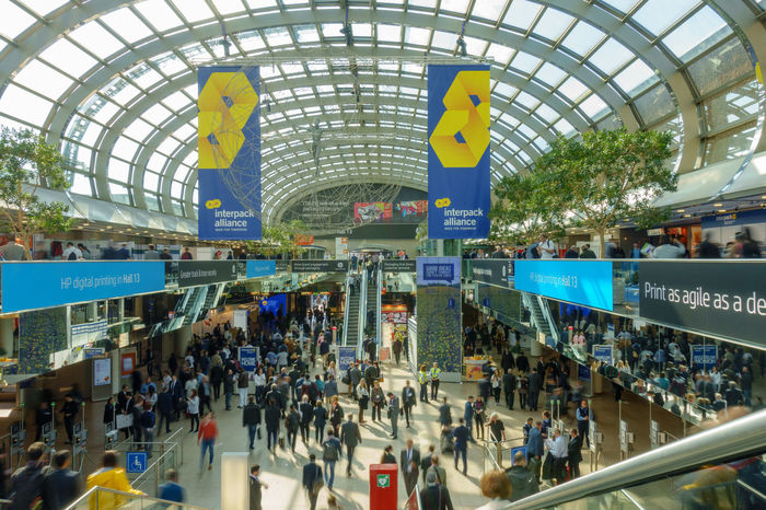 Interpack International Packaging Exhibition in Düsseldorf Crowd Düsseldorf Exhibition Exhibition Center Fair Fairground Interpack Large Group Of People Messe Moving People Packaging Industry People Verpackung