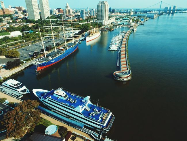 Architecture High Angle View Nautical Vessel Built Structure Building Exterior City Transportation Water Mode Of Transport Day No People Outdoors Cityscape Skyscraper Harbor Travel Destinations Sea Cityscape Penn's Landing Philadelphia City Of Brotherly Love Tourism Dji Drone  Phantom 3 Delaware River