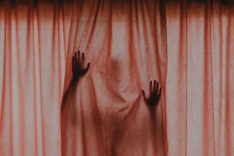 Spooky season Human Hand One Person Curtain Real People Hand Indoors  Unrecognizable Person Human Body Part Shadow Pattern Lifestyles Close-up Mystery Human Finger Finger Spooky Spooky Atmosphere Halloween