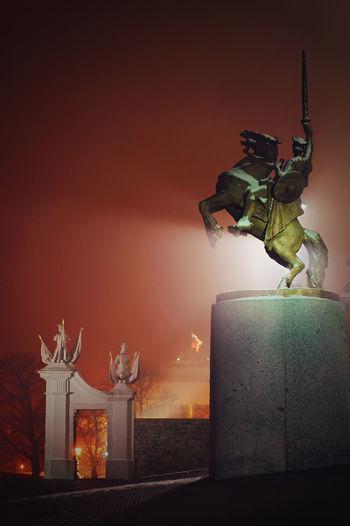 Svatopluk statue on the Bratislava castle square at night, Slovakia. Bratislava Bratislava, Slovakia Castle City Garden Jan Kulich Light Night No People Outdoors Plant Sculpture Slovakia Sqaure Statue Svatopluk
